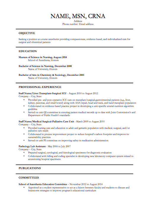 nurse anesthetist resume